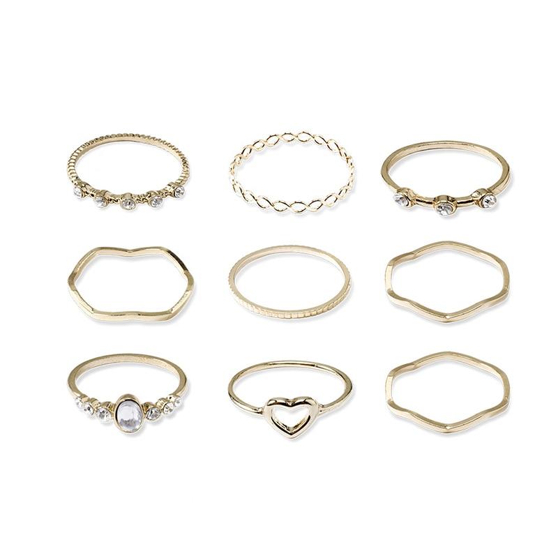 Women's Geometric Joint Rings Set