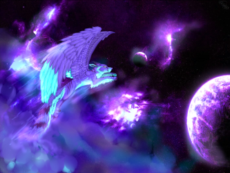 Anime Mythical Galaxy Wolf Wallpaper