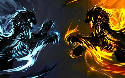 Cool Fire And Ice Dragon Wallpaper