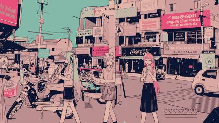 aesthetic anime desktop food retro