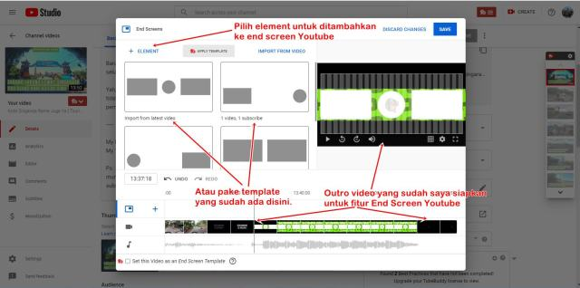 Cara pasang end screen Youtube itu begini lho.