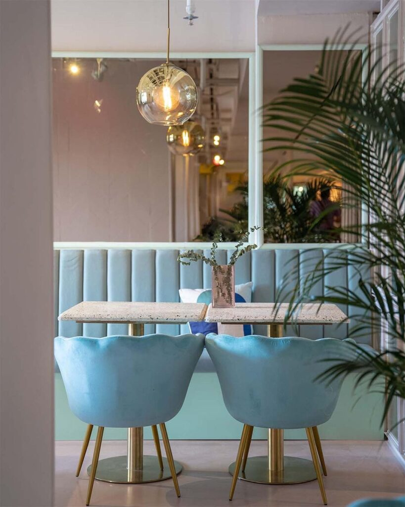 Pastel blue scallop chairs