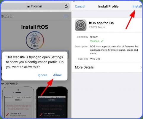 Install ftOS app for iOS
