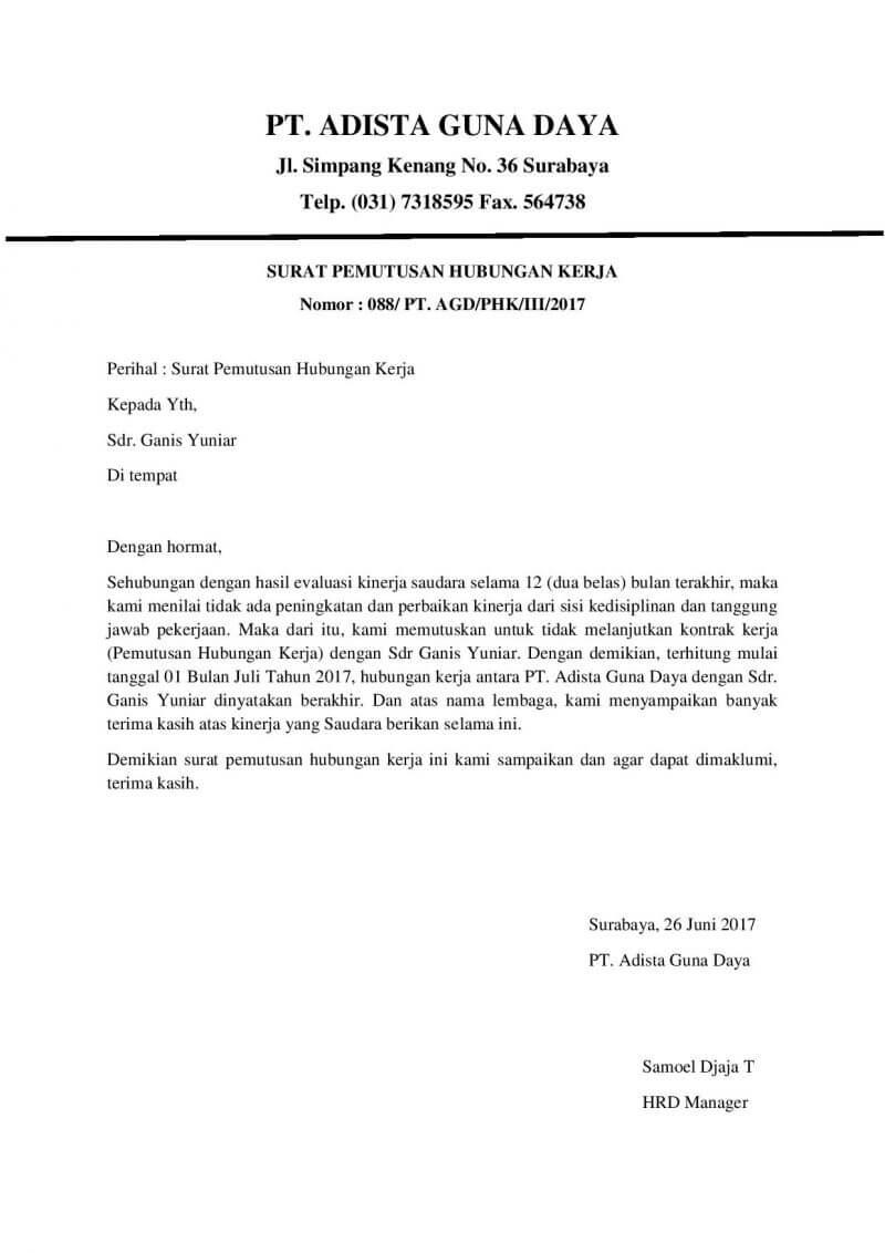 Surat Pemutusan Kerjasama : surat, pemutusan, kerjasama, Contoh, Surat, Pemutusan, Hubungan, Kerjasama, Dengan, Vendor