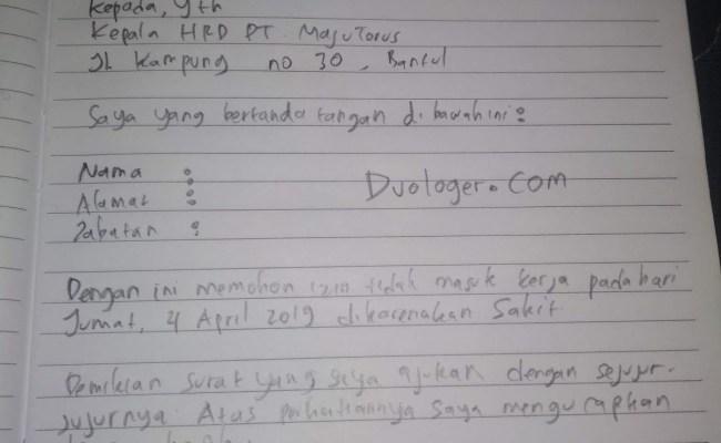 Contoh Surat Izin Sakit Tulisan Tangan Yg Benar Kumpulan Contoh Surat Cute766