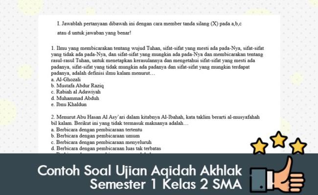 Contoh Soal Dan Jawaban Akidah Akhlak Uas Kelas 12 Cari Pembahasannya Cute766