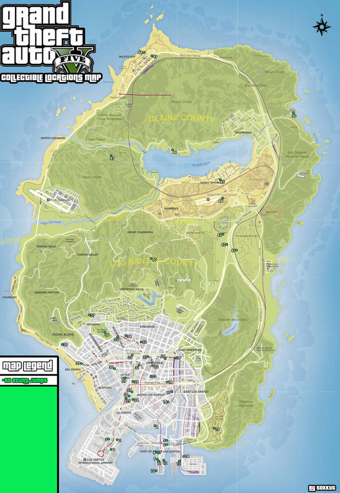 Gta 5 All Stunt Jumps Map : stunt, jumps, Collectible, Locations, Guide, Grand, Theft, Neoseeker