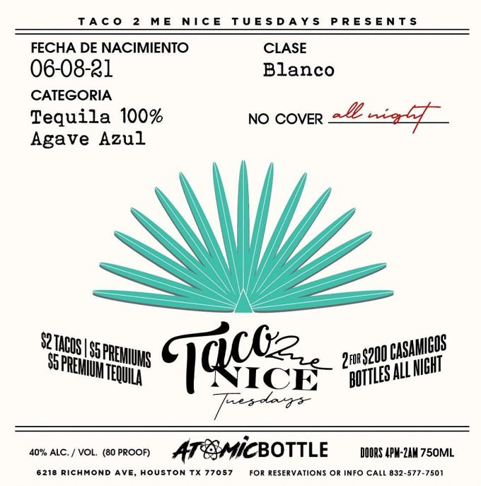 Aco 2 Me Nice Atomic Bottle Houston 17 August To 18 August
