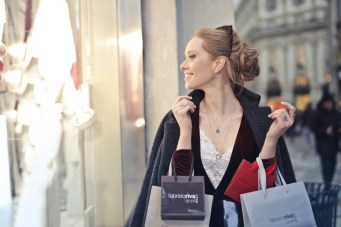 window shopping woman girl female store expensive elegant sunglasses rich bags