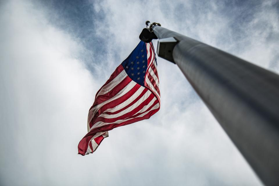flag united states us clouds sky freedom democracy flag pole sovereignty state nation country