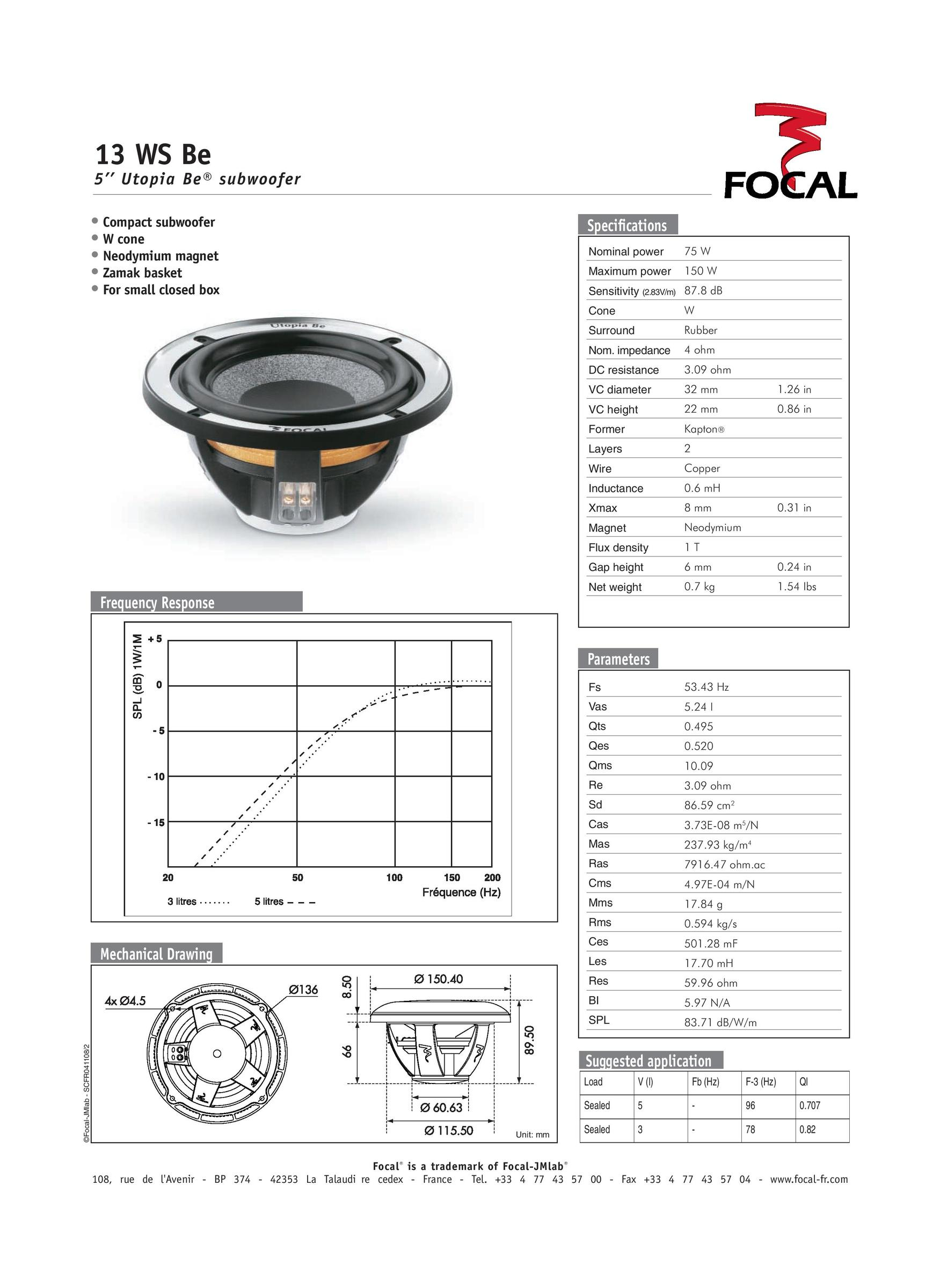 Focal Elite Utopia Be 13 Ws 5 4ohm 150w Subwoofer Kklau