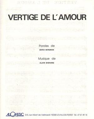 Alain Bashung Vertige De L Amour : alain, bashung, vertige, amour, Partition, Alain, BASHUNG, Vertige, L'amour