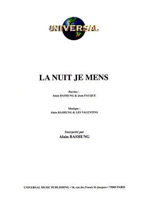 Accords La Nuit Je Mens : accords, Partition, Alain, BASHUNG