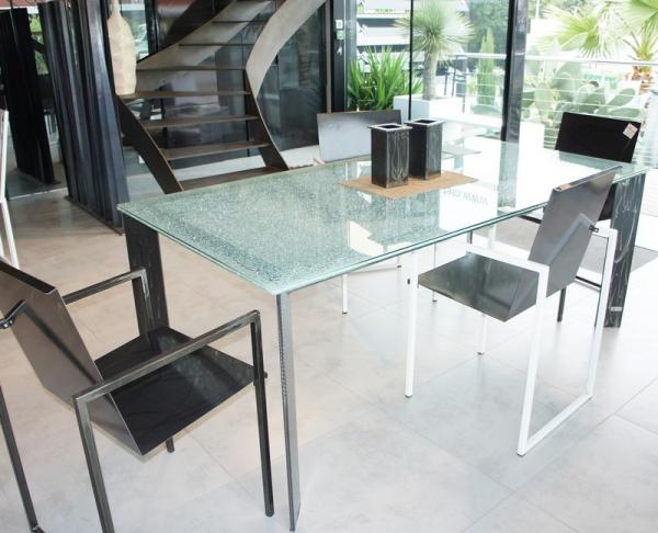 table haute metal plateau verre salle