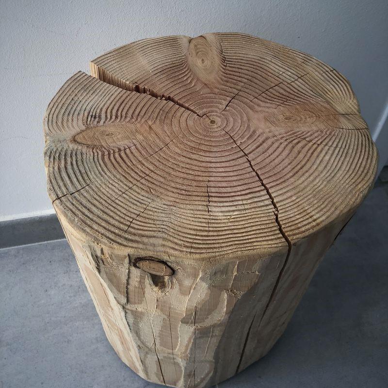 tabouret rondin bois brut tabouret