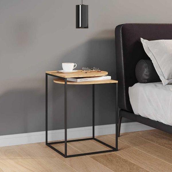 table chevet bois metal