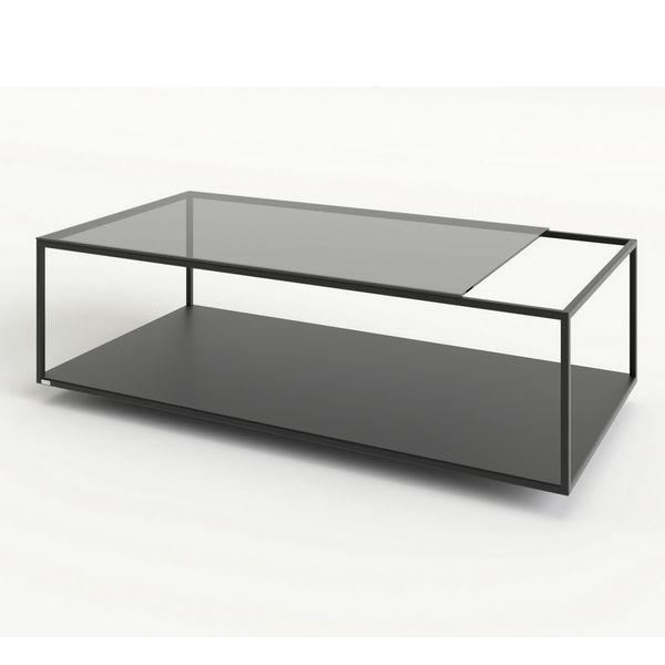 table basse verre et acier