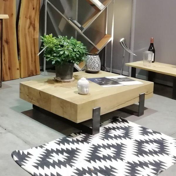 table basse bois brut massif une maison ecologique