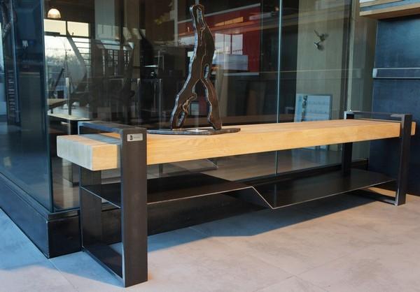 meuble tv metal plateau bois meuble