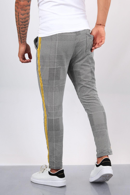pantalon homme carreaux bande jaune 3390