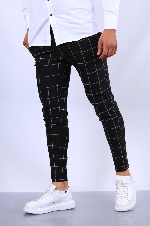 pantalon chino homme carreau noir fri 1719