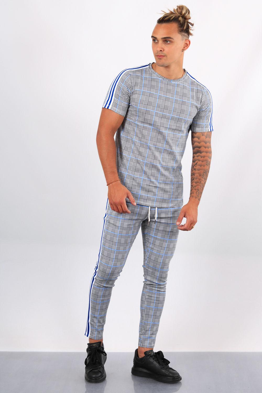 ensemble t shirt pantalon carreaux bleu g57 58
