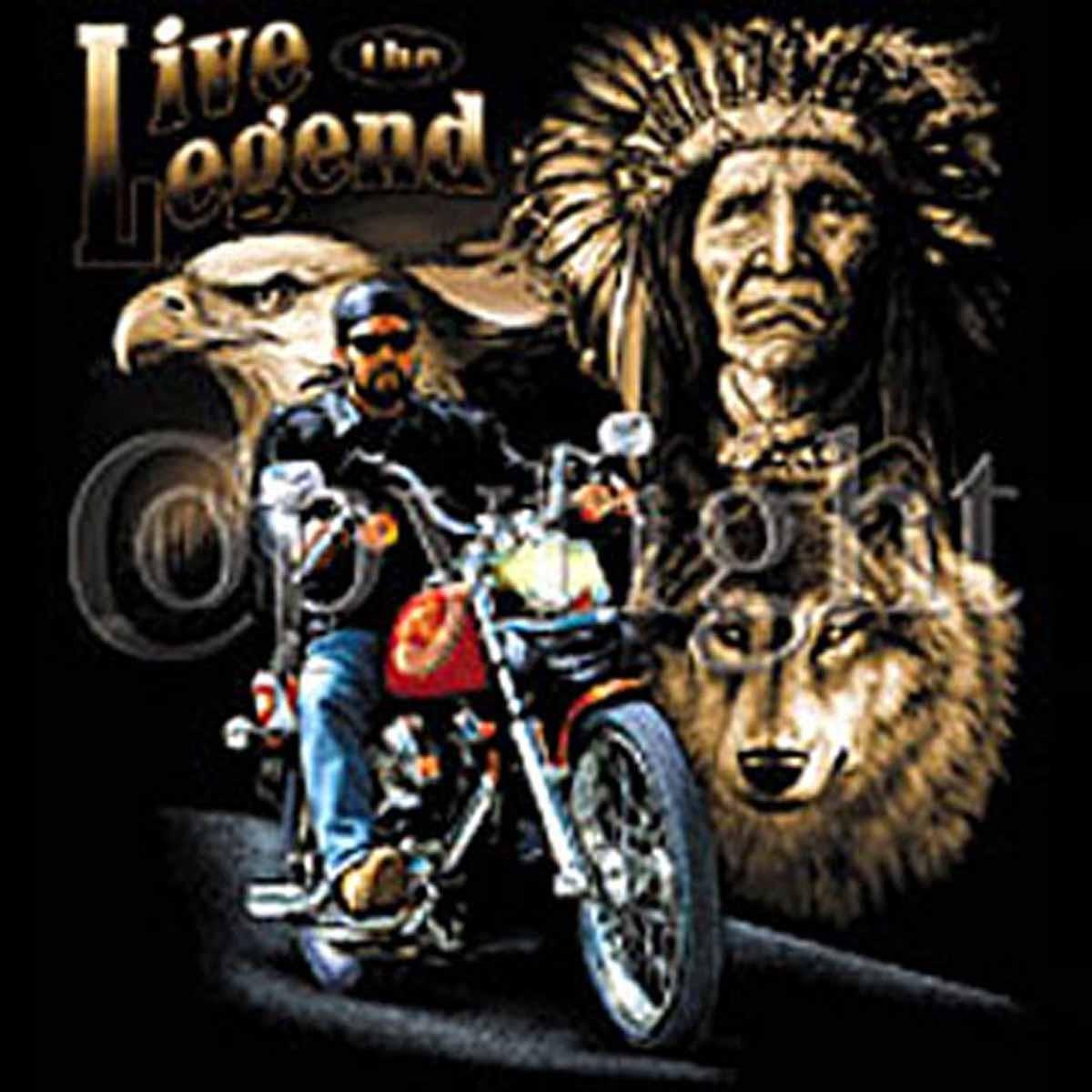 T Shirt Moto Biker Aigle Et Loup
