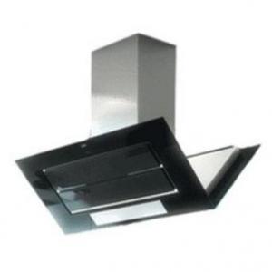 hotte ilot 110 cm roblin 6060204 vizio 3 verre centrale 1100 inox et verre noir