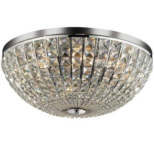 Romantische plafondlamp chroom kristal  Straluma