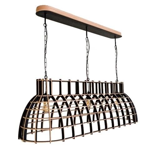 Eettafel hanglamp Cone hout zwart  Straluma