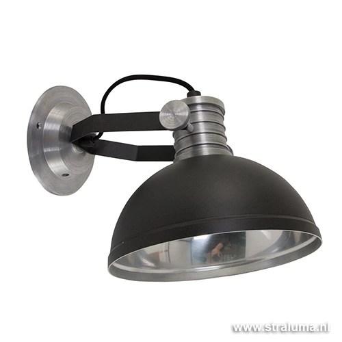 Industrile wandlamp zwart staal bedla Straluma