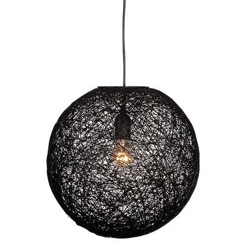 Abaca hanglamp zwart rond slaapkamer  Straluma