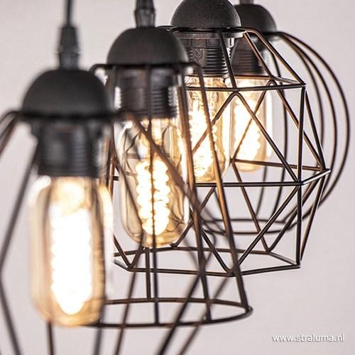 Eettafel draadhanglamp zwart 4lichts  Straluma