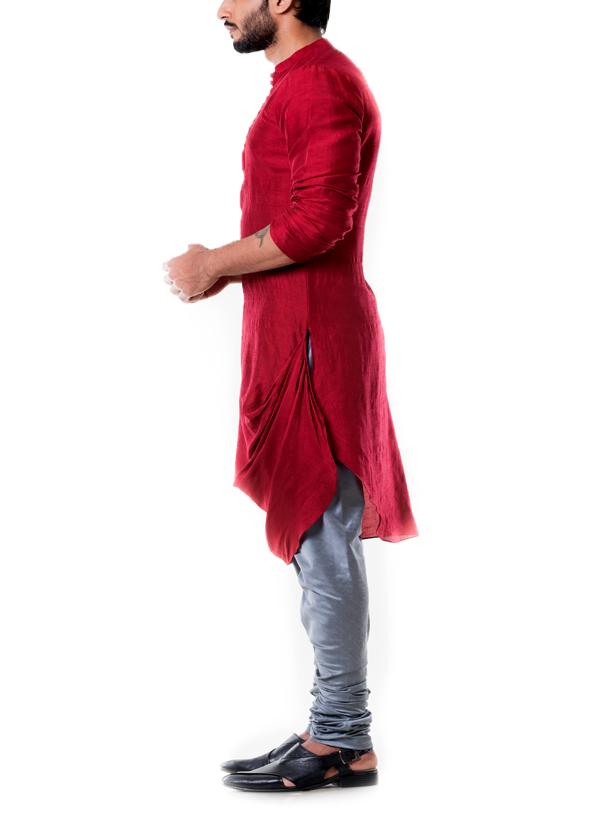 Anju Agarwal  Maroon Cowl Kurta Set  Shop Kurtas at strandofsilkcom