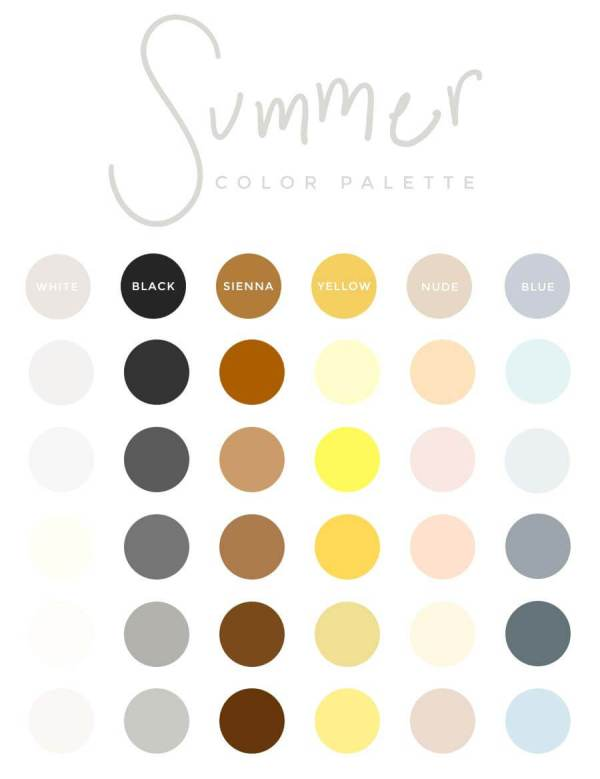 Summer color palette for a capsule wardrobe