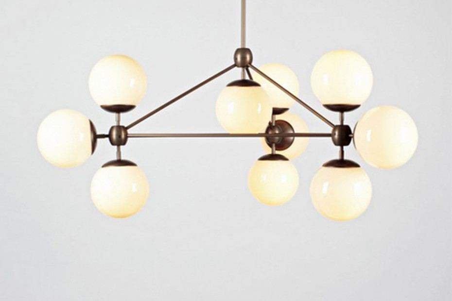modo chandelier 3 sided 10 globes by
