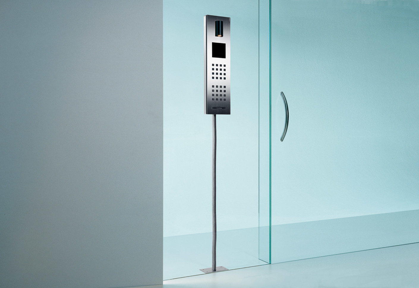 Steel Intercom system glass mounted by Siedle  STYLEPARK