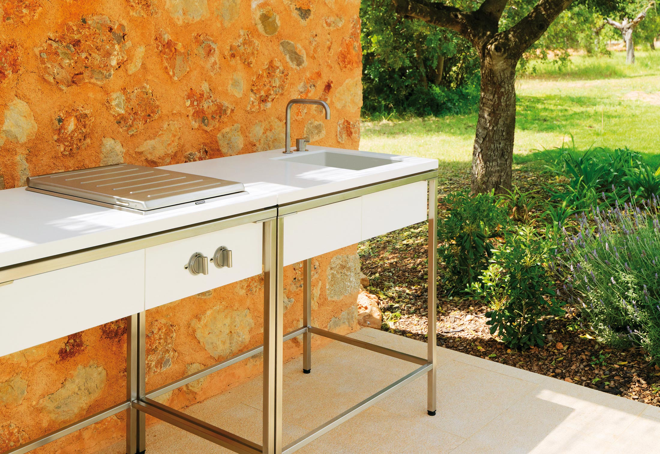 outdoor kitchen sinks narrow cabinet for sink modul by viteo stylepark