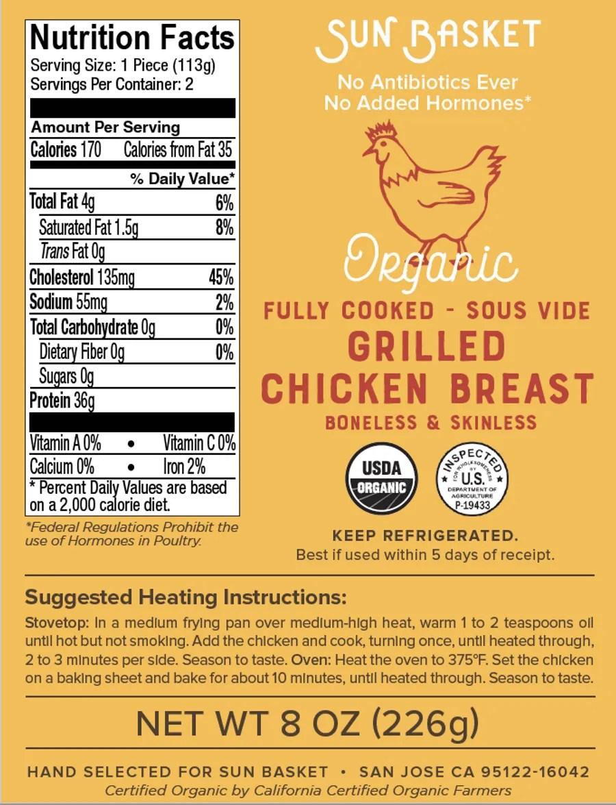8 Oz Chicken Breast Calories : chicken, breast, calories, Organic, Cooked, Boneless, Skinless, Chicken, Breasts, Sunbasket