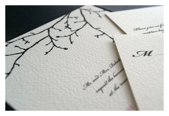 Silhouette Branch Winter Wedding Invitation