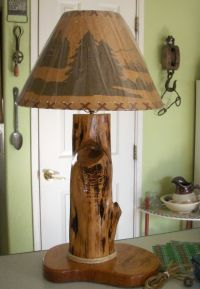 Hand Crafted Cedar Wood Lamp in Rustic Design - NatureWhispers