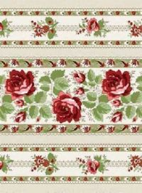 Cotton Quilt Fabric With All My Heart Floral Stripes Beige ...