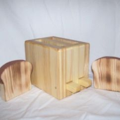 Solid Wood Toy Kitchen Best Material For Countertops Wooden Toaster Cute Handmade Appliance - Ss ...