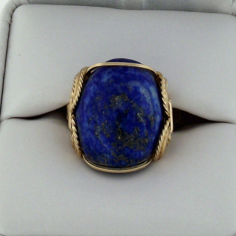 Lapis Lazuli Gold Filled Wire Wrapped Cabochon Ring Judy