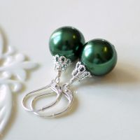 Green Christmas Ball Earrings in Sterling Silver ...
