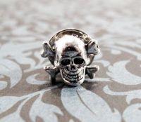 Little Skull Tie Tack, Pin, Skull and Crossbones Halloween