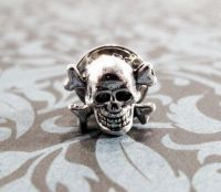 Little Skull Tie Tack, Pin, Skull and Crossbones Halloween ...