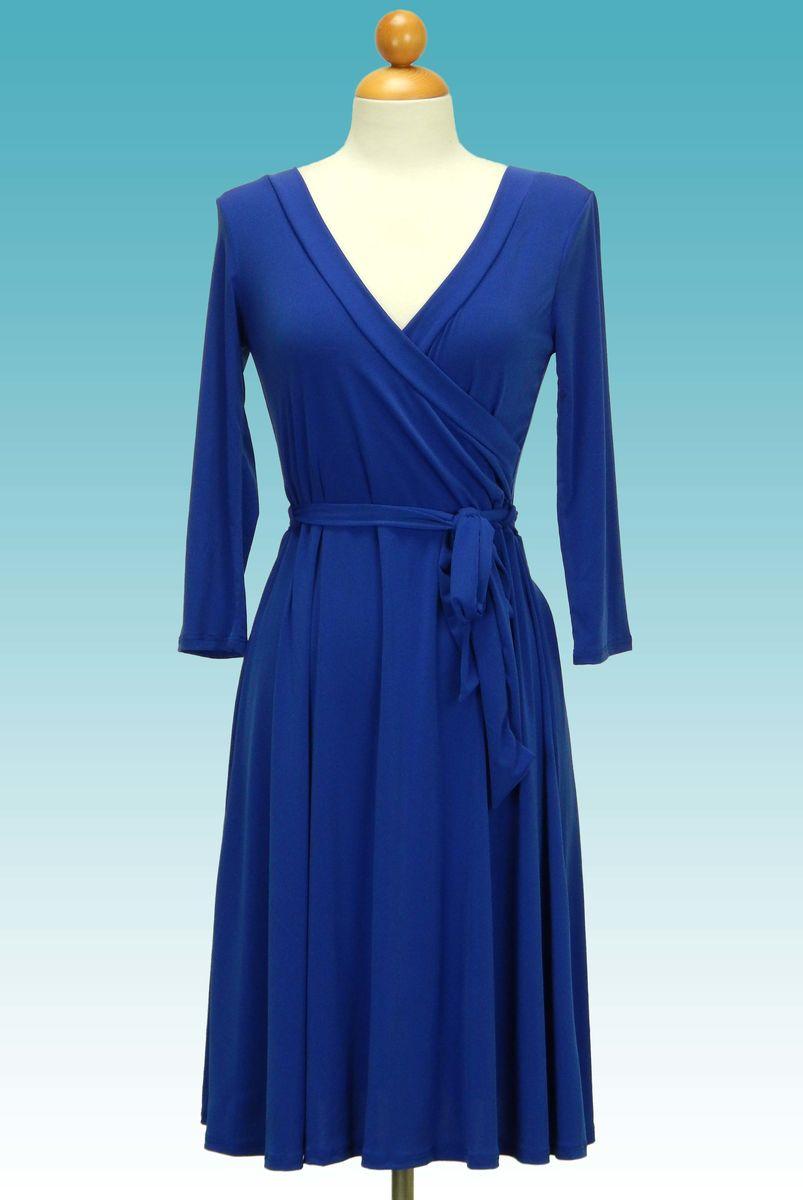 Janette Fashion Blue Wrap Dress - Red Apparel Online