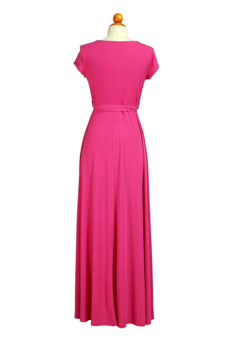 Hot Pink Maxi Dress with Cap Sleeves
