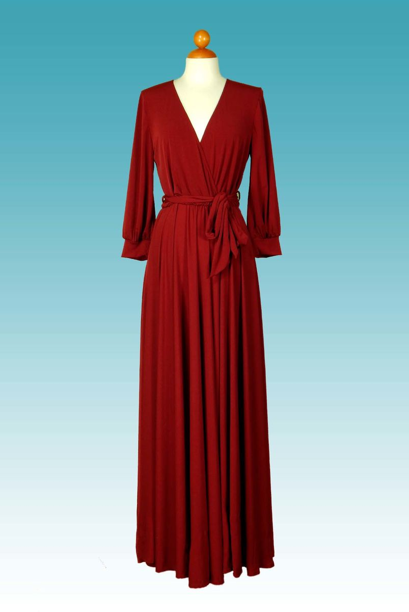 Maxi Wrap Dress with 3 4 Sleeves